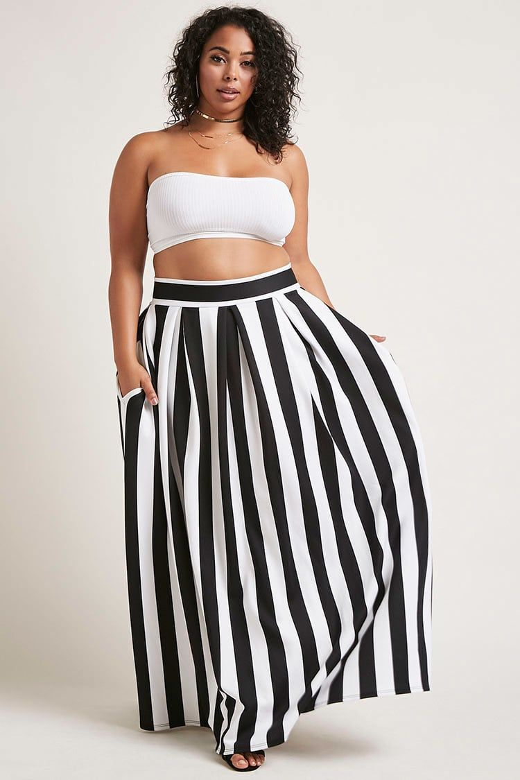 974ad083b2 Forever 21+ - A scuba-knit maxi skirt featuring a stripe pattern, inverted