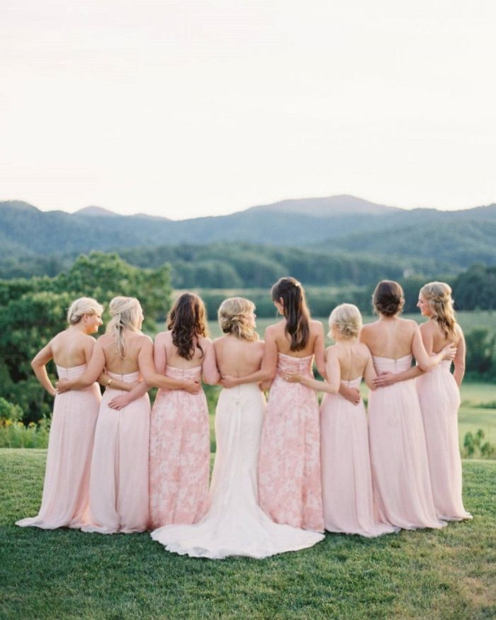 Blush bridesmaid dresses + blush wedding bouquets | fabmood.com #weddinginspiration #blush #blushbridesmaiddresses
