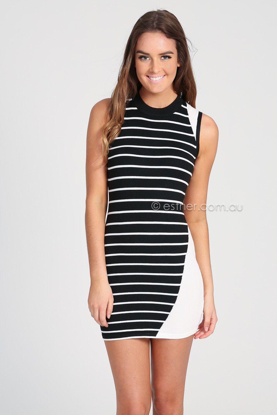 quinn knitted dress - black - sale