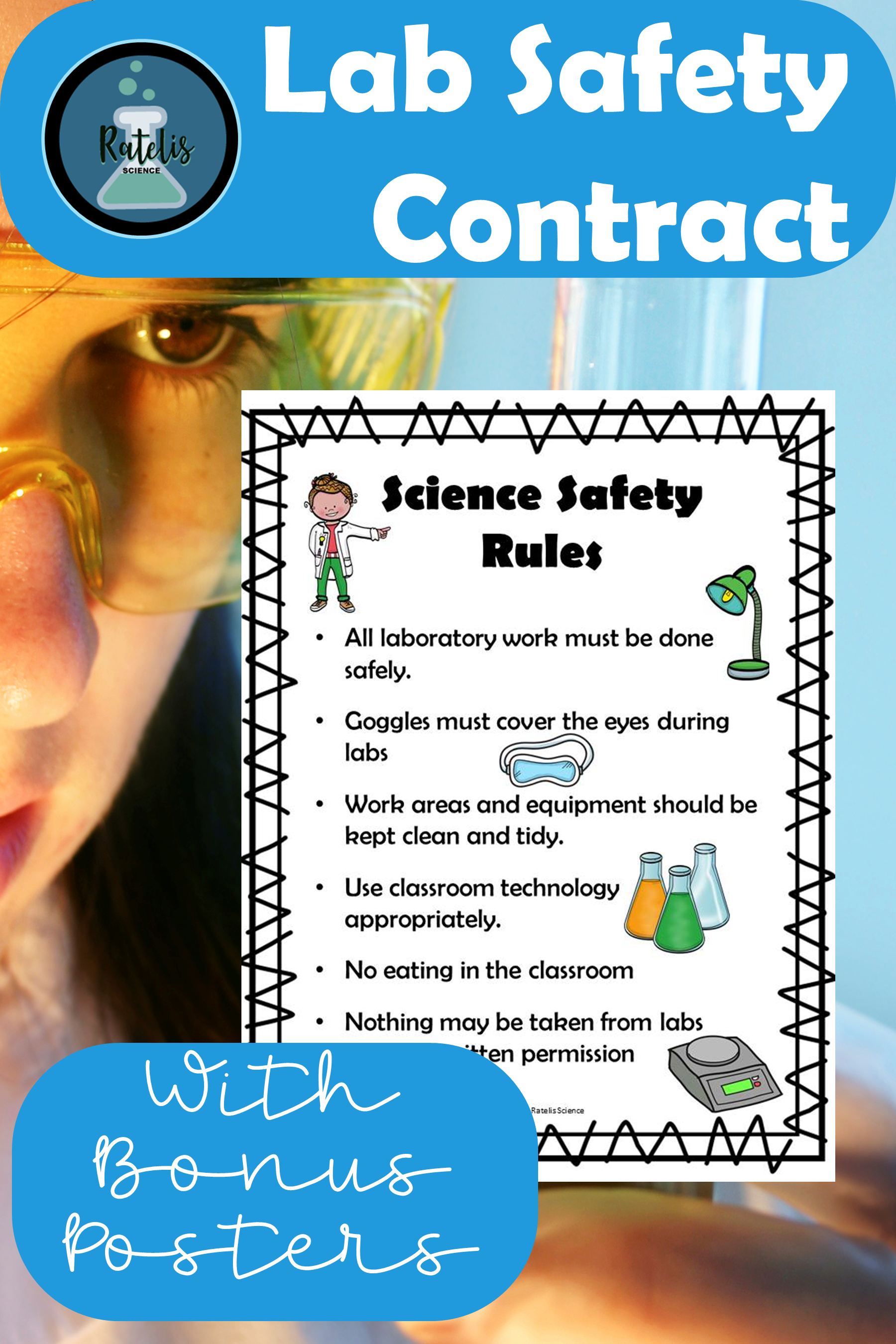 Editable Lab Safety Contract And Bonus Safety Poster In