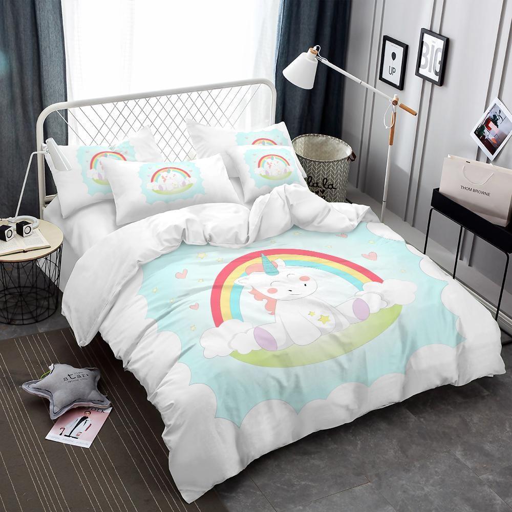 Cute Unicorn Bedding Set Cartoon Duvet Cover King Queen Bed Linen
