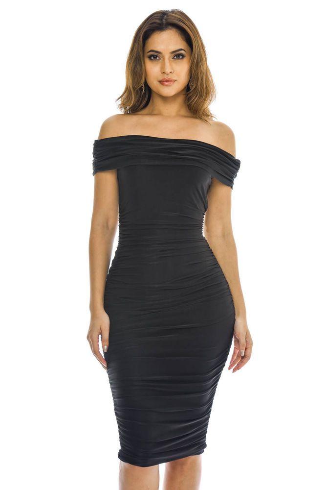 Ruched black off the shoulder cocktail dress