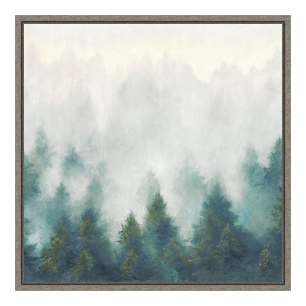 Amanti Art Misty Forest Blush Framed Canvas Wall Art Grey 16x16 Wall Canvas Framed Canvas Wall Art Canvas Wall Art