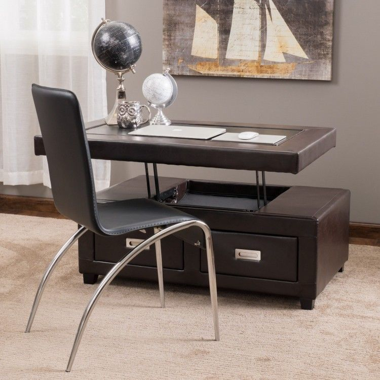 Lift Top Table Bonded Leather Adjustable Rectangle 2