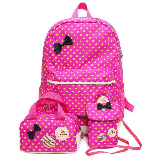 846a33d5ad bow school Bag for girl first class blue backpack pink lovely schoolbag set  school backpacks for teenage girls book bags WM193YL