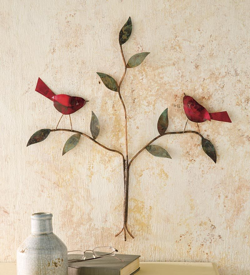 Handcrafted two birds wall art