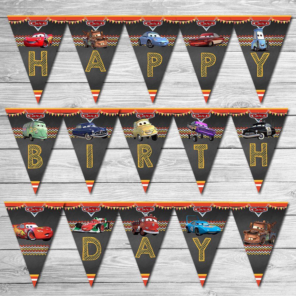 Disney Cars Birthday Banner Chalkboard