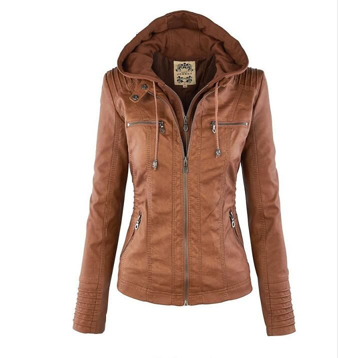 New Autumn and Winter Fashion Long-sleeved Women Leather Jacket ...