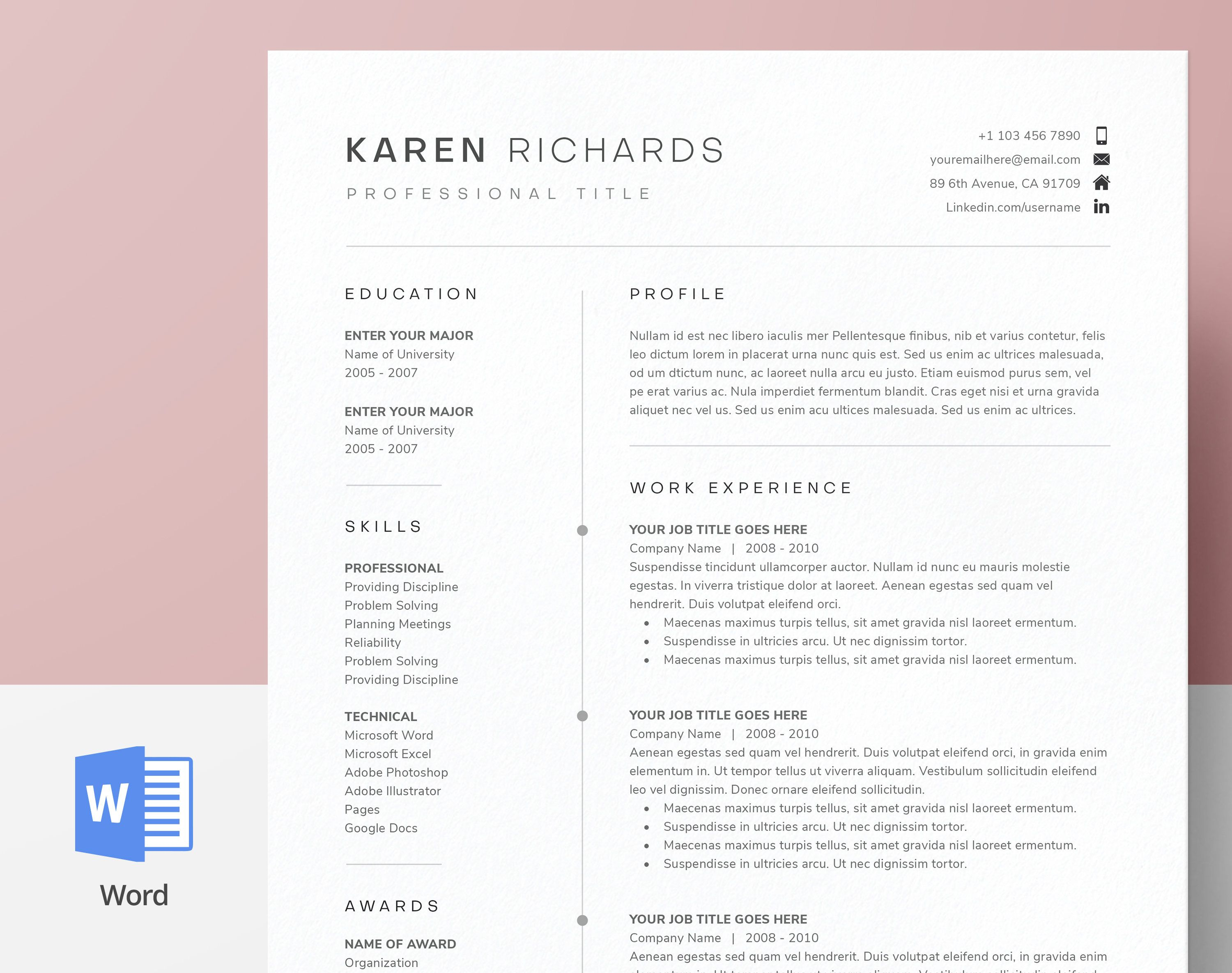 Modern Clean One Page Resume Template Cv Template Cover Etsy In 2021 One Page Resume Template One Page Resume Resume Template