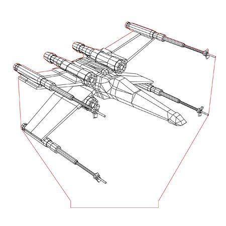 X Wing 3d Illusion Lamp Plan Vector File For Laser And Cnc 3bee Studio 3d Illusion Lamp 3d Illusions Star Wars Lamp