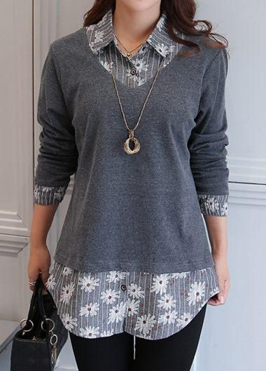 Printed Grey Long Sleeve Faux Two Piece Blouse