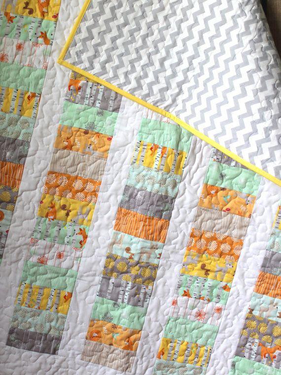 Modern Gender Neutral Baby Quilt Baby Boy Quilt by GoBeWonderful