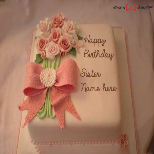 Write name on Beautiful Flower Birthday Name Wish Cake for