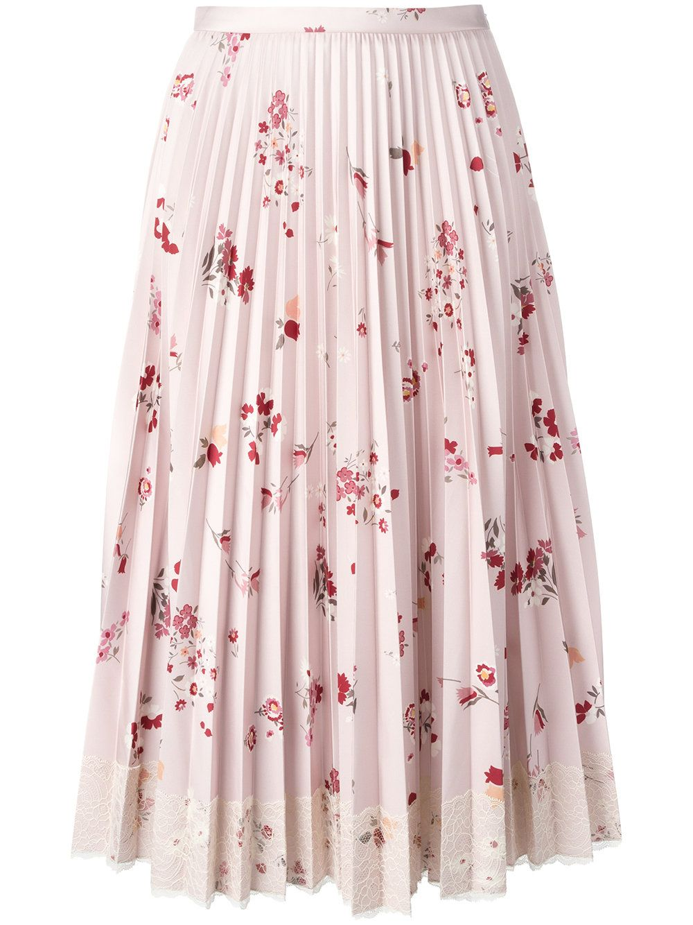 ca82bff8eb7a91 Red Valentino floral print pleated skirt with lace fringe | Long ...