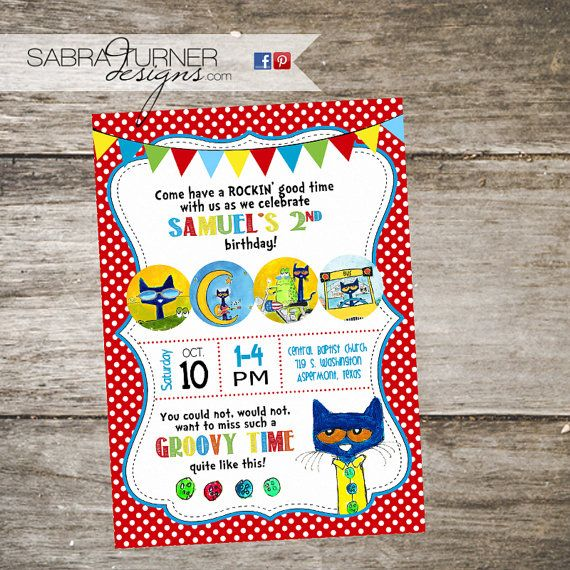 Pete the Cat Birthday Party Invitation Pete by SabraTurnerDesigns – Cat Party Invitations