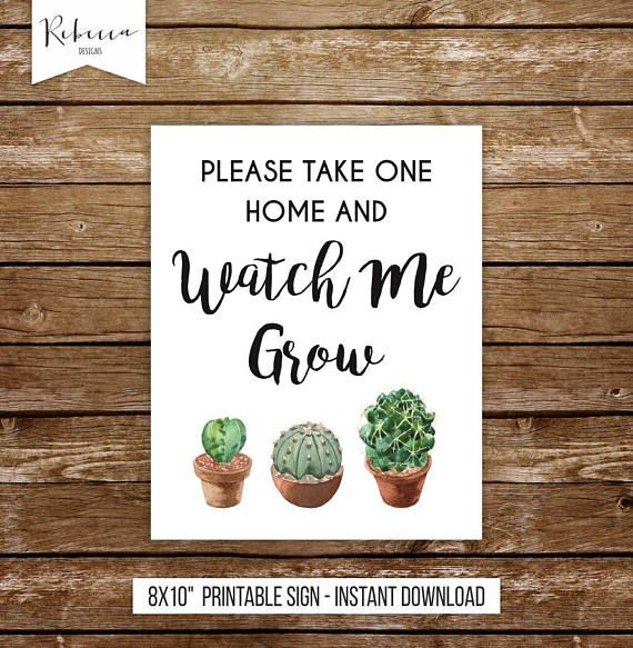 f696cc7a560 Watch me grow sign printable succulent favors baby shower sign ...