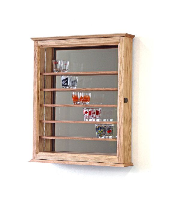 48 Oak Shot Glass Display Case By Fwdisplay On Etsy Ideas For