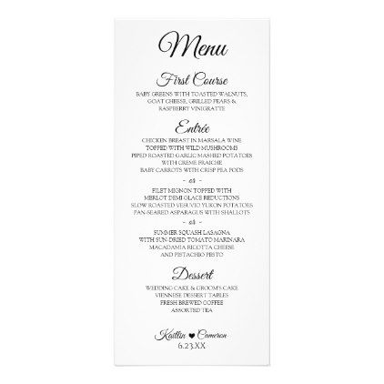 Simple Script Wedding Menu 4 x 9 Black - script gifts template - fresh invitation template simple