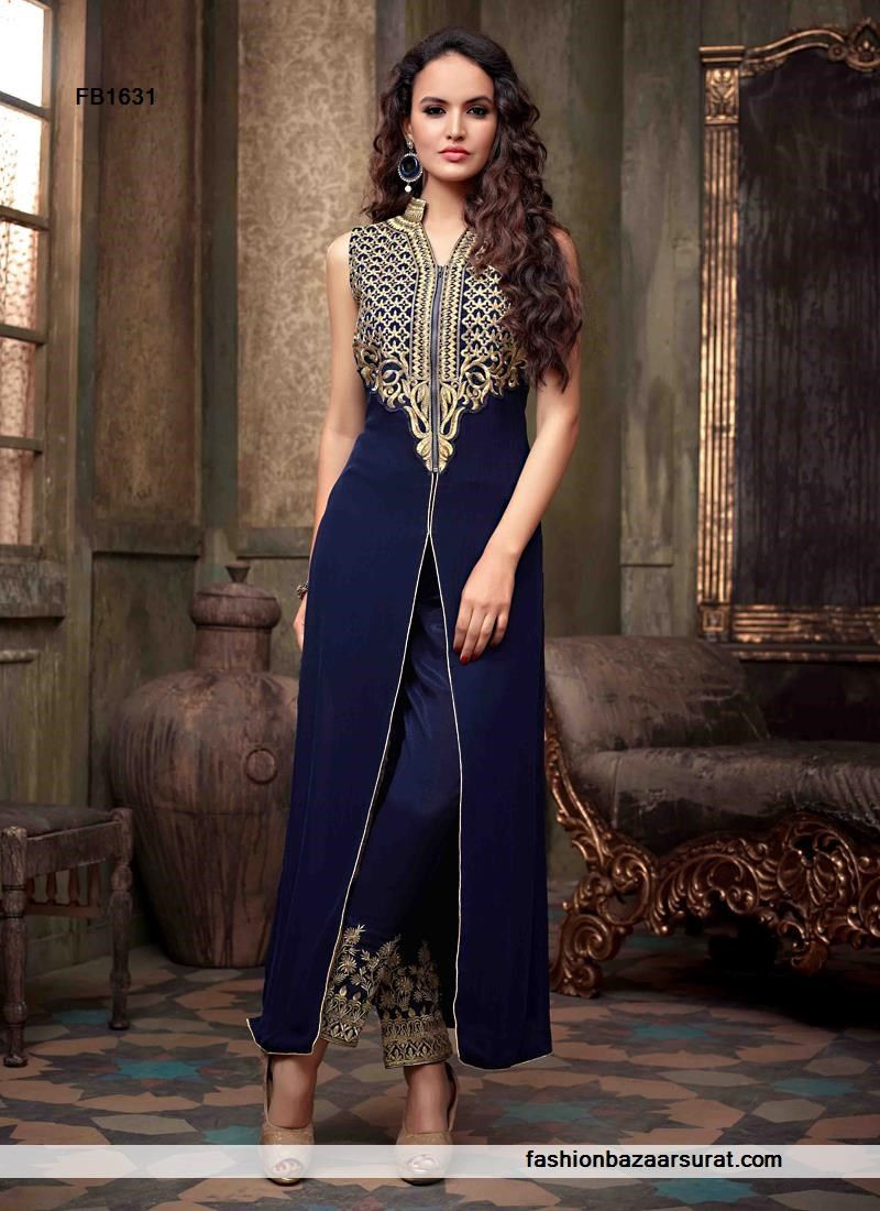 Beautiful Navy Blue Pant Style Suit | Buy Indian Salwar Suits Online ...
