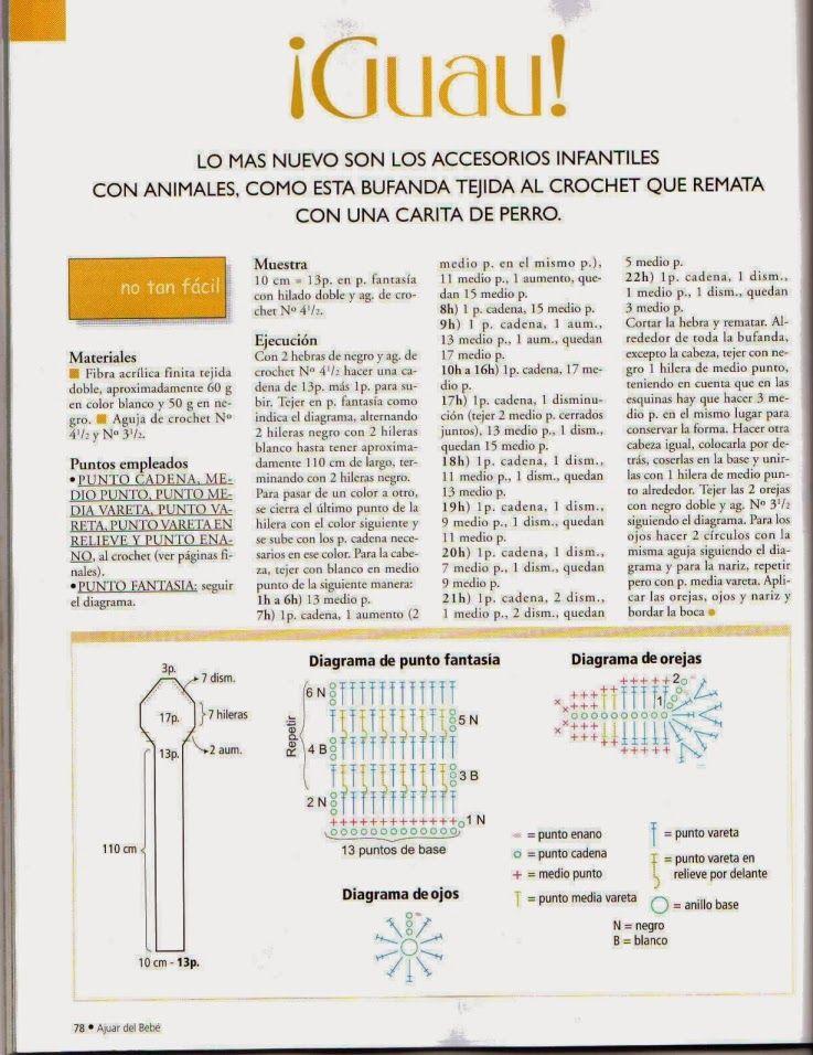 Bufanda Crochet Carita de Perro Patron - Patrones Crochet | Bufandas ...