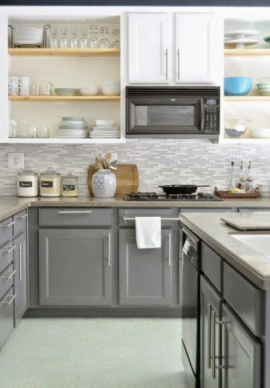 Best Gray On Bottom White On Top Kitchen Remodel Kitchen 640 x 480