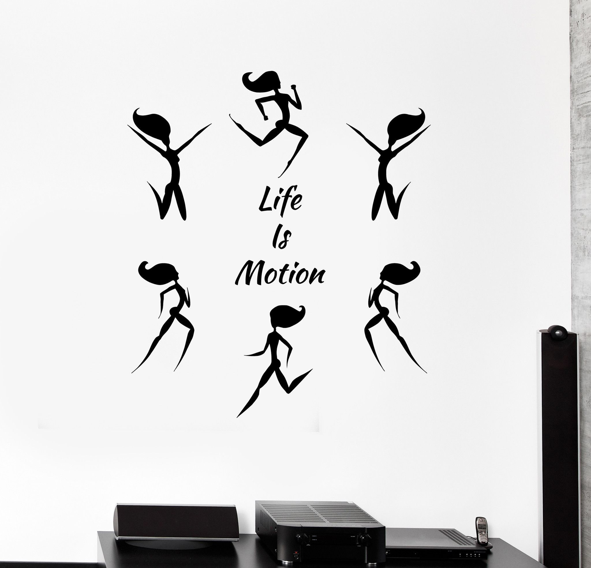 Vinyl Wall Decal Fitness Quote Life is Motion Woman Gym Sports Stickers (ig4584) & Vinyl Wall Decal Fitness Quote Life is Motion Woman Gym Sports ...