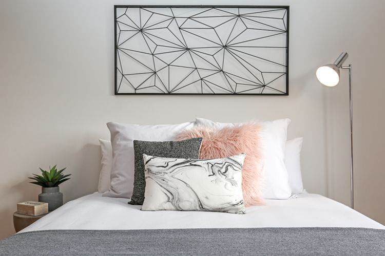 Funky pink grey black and white teen girls bedroom faux for Black and white marble bedding