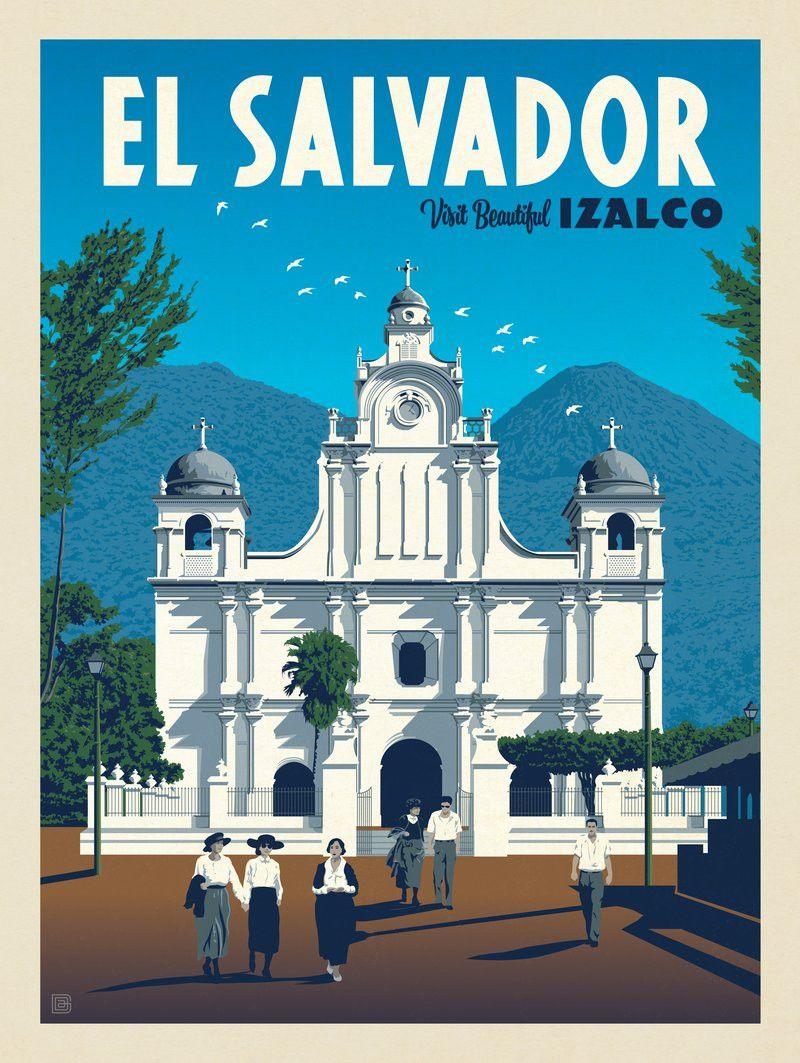 Anderson Design Group World Travel El Salvador Izalco Travel Posters Retro Travel Poster El Salvador Travel