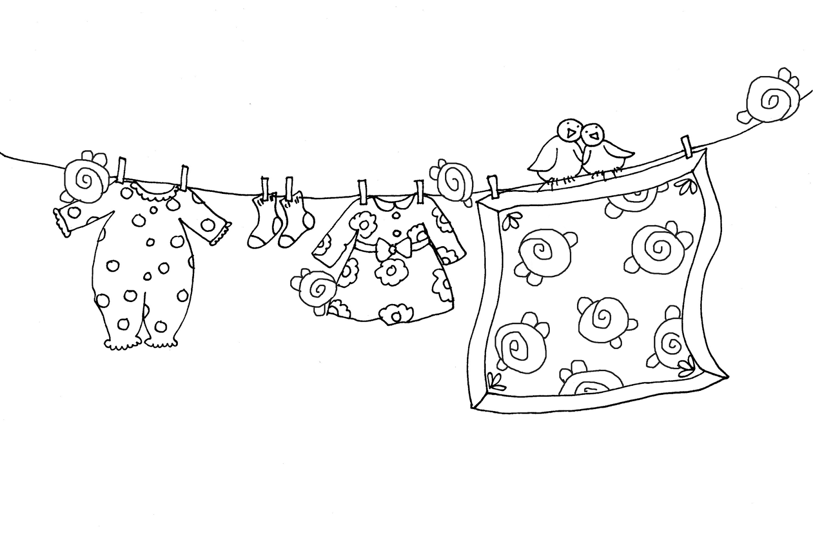 Embroidery Pattern Of Free Dearie Dolls Digi Stamps Baby Girl Clothesline From