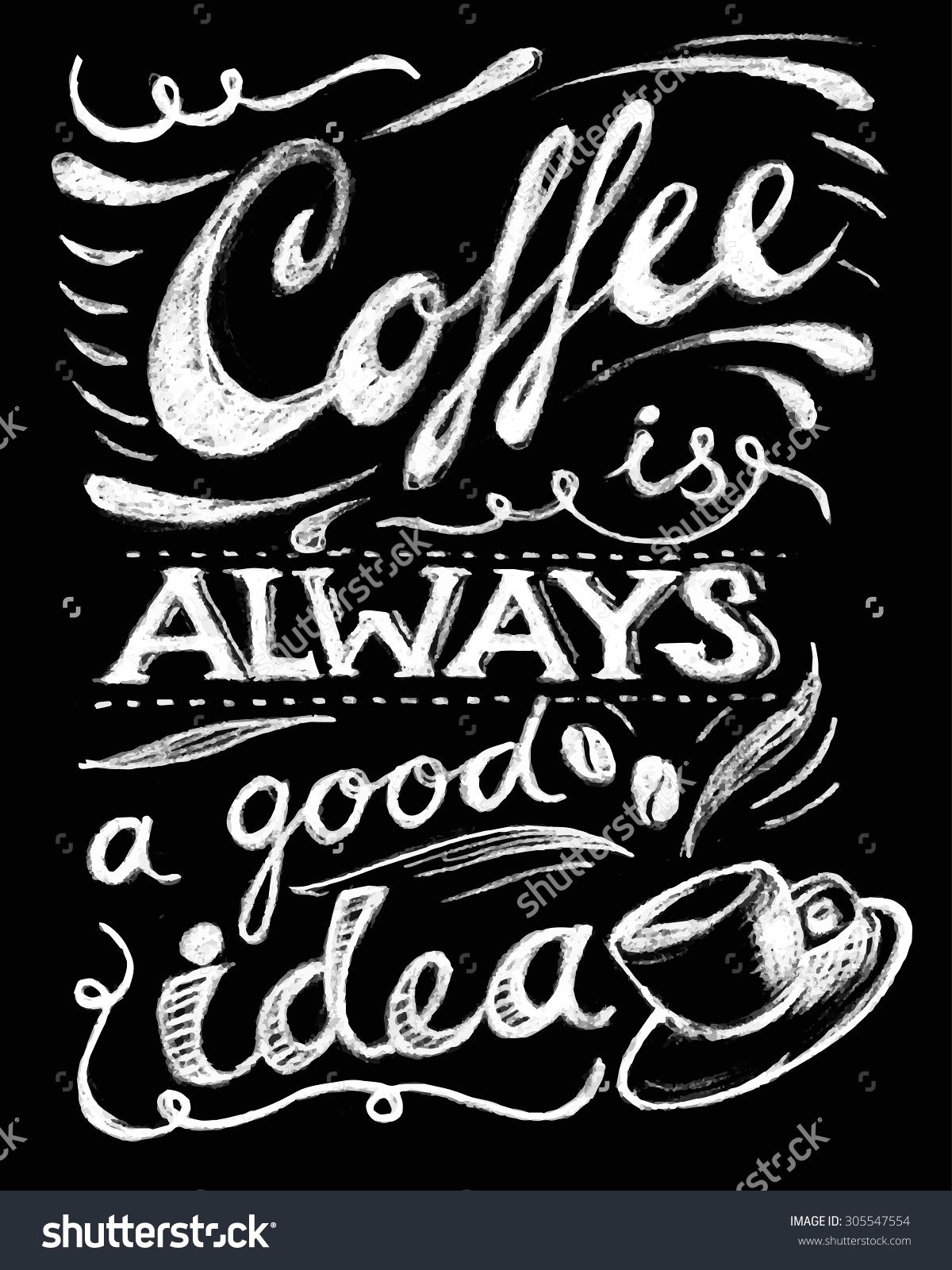 coffee is always a good idea lettering coffee quotes hand