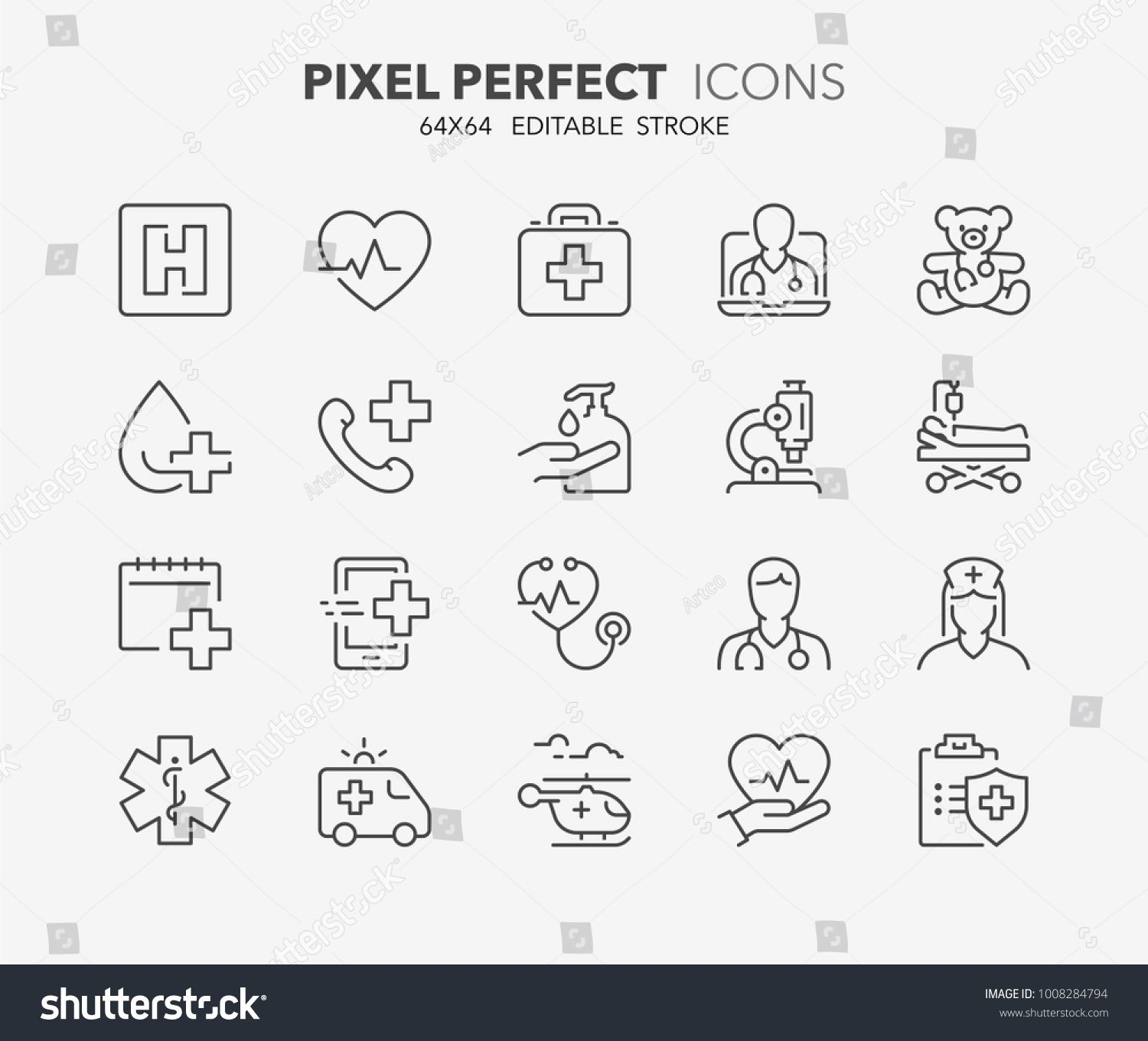 Thin line icons set of hospital and medical care. Outline