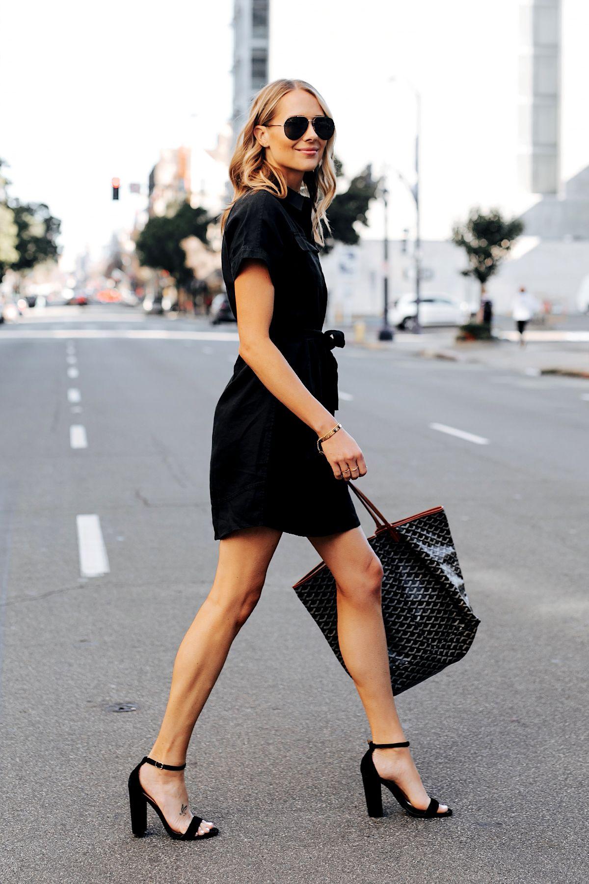 Fashion Jackson Wearing Black Short Sleeve Shirt Dress Black Heeled Sandals Goyard Tote Fashion Jackson Black Short Sleeve Dress Black Shirt Dress Outfit [ 1800 x 1200 Pixel ]