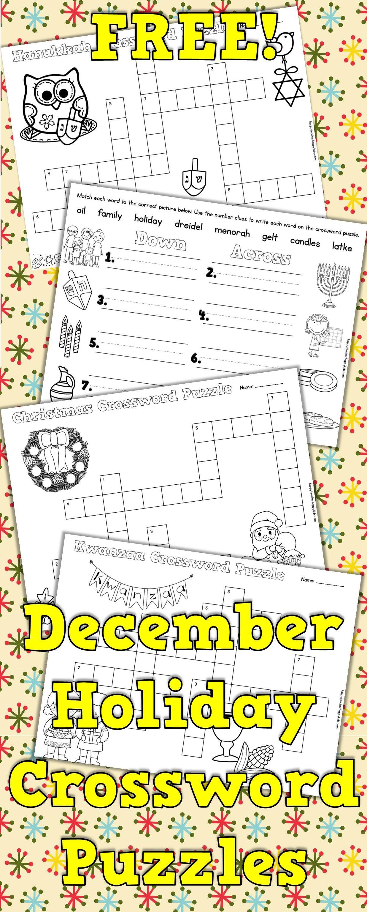 Free Christmas Kwanzaa Hanukkah Crossword Puzzles For Primary