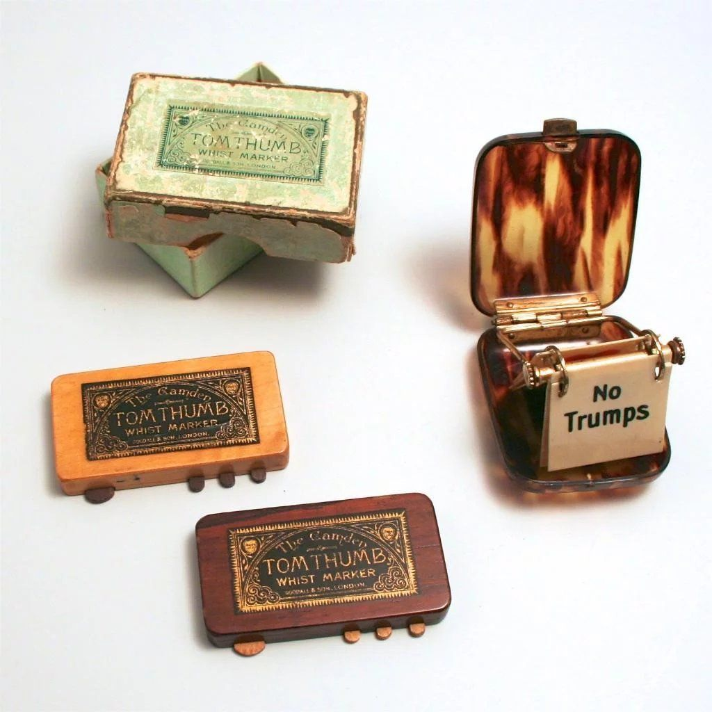 Antique whist card game markers a pair of tom thumb