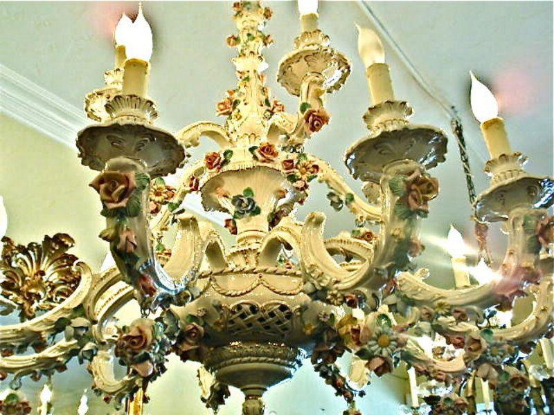 Italian Porcelain Chandelier Fl Design