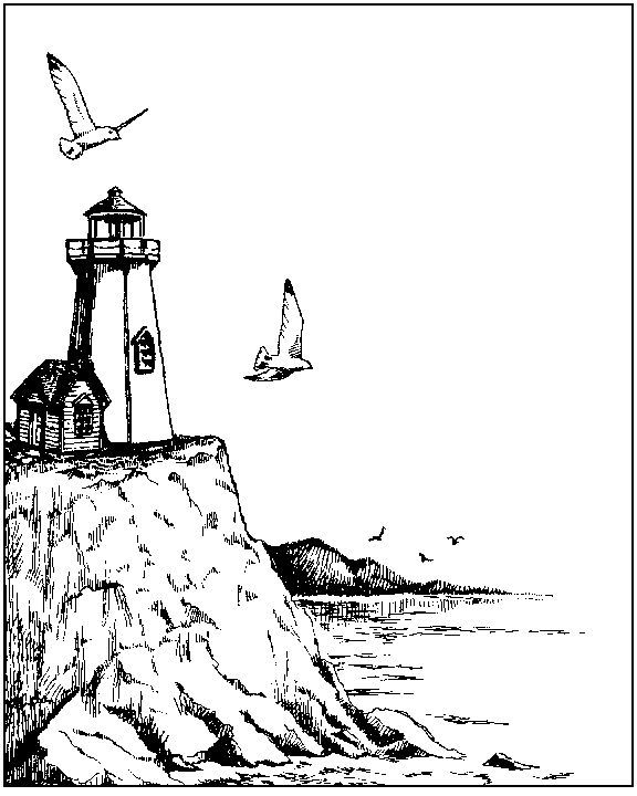 Coloring a lighthouse and boats since a porthole picture