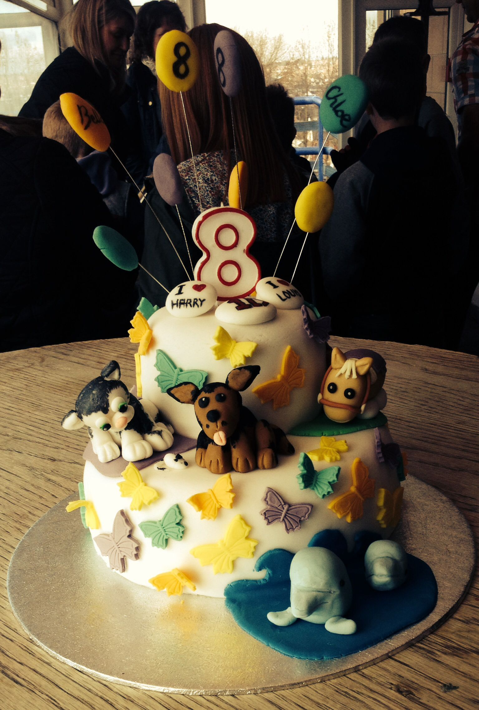 Favourite things birthday cake - horse, dog, cat, dolphin, 1d, balloons and butterflies!