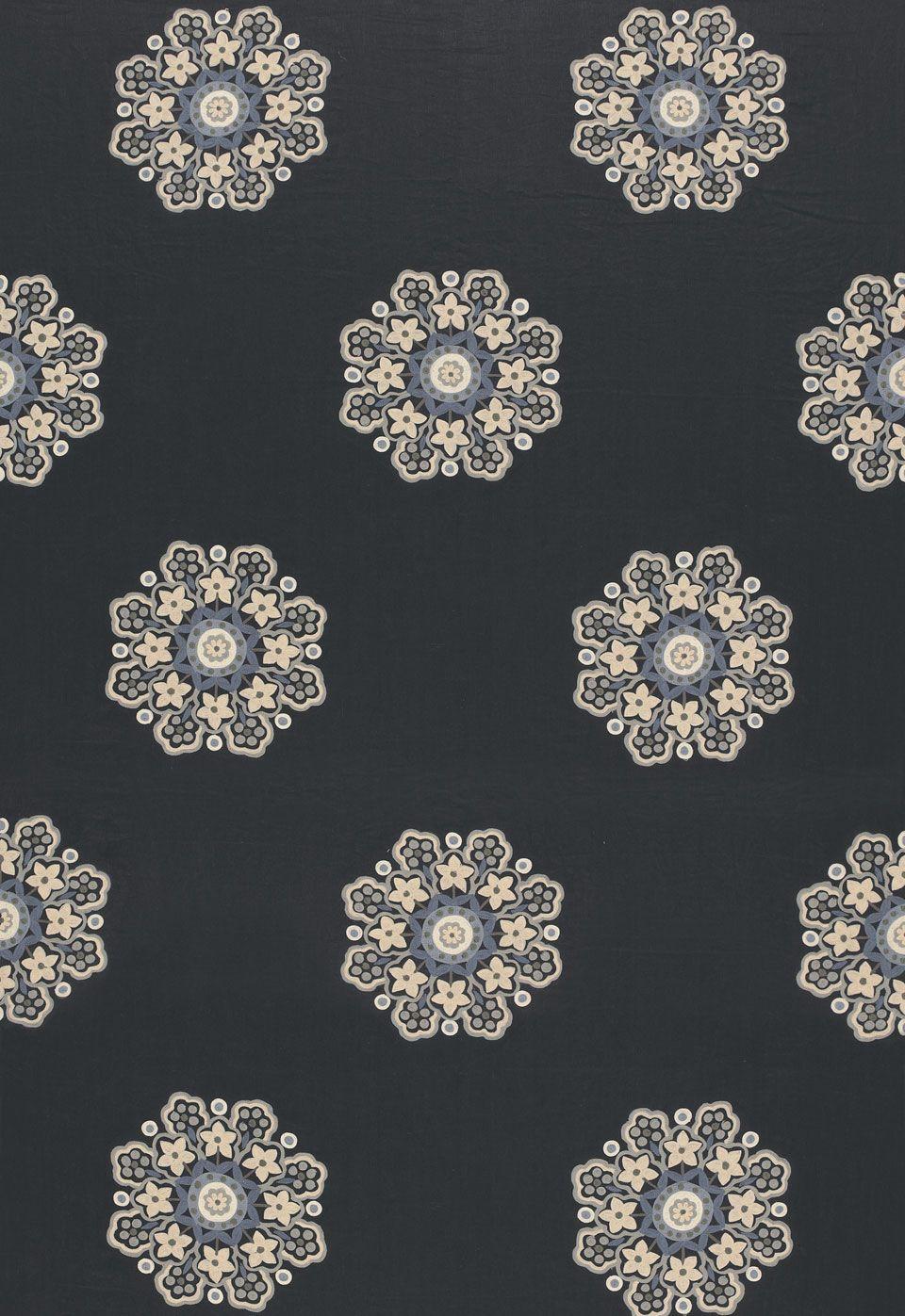 Fabric Chennai Linen Embroidery In Midnight Schumacher Schumacher Fabric