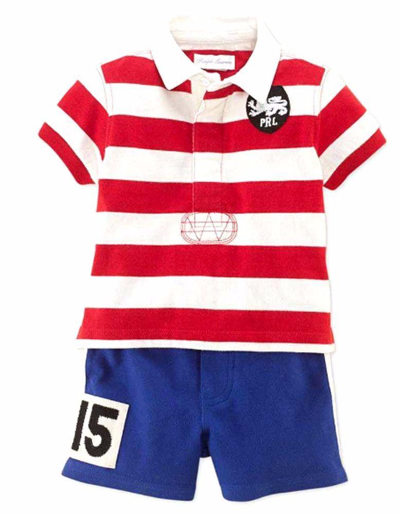6184add330655 NWT Ralph Lauren Infant Baby Boys Polo Striped Rugby Shirt   Mesh Shorts Set   RalphLauren  DressyEveryday