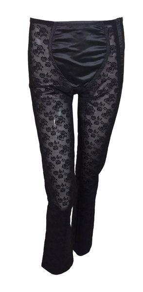 9ef615552a590b S/S 1998 Dolce & Gabbana Sheer Black Lace Corset Bandage Leggings ...