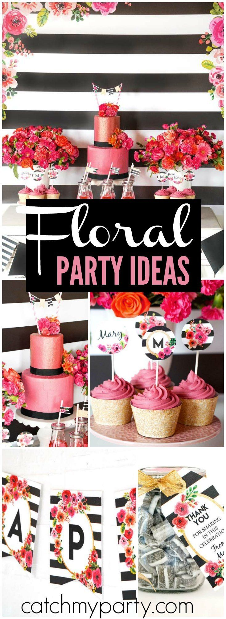 Such a pretty black and white striped floral party! See more party ideas at CatchMyParty.com!