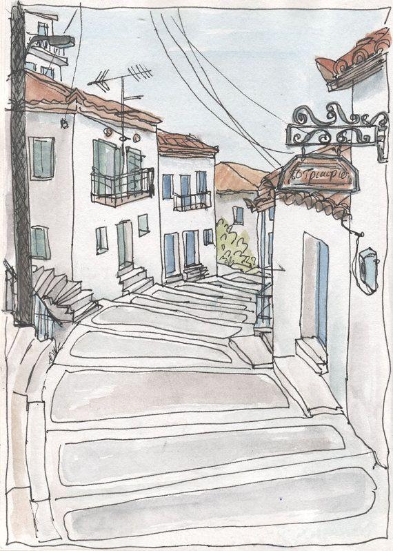 Greek Village Koroni Steps Giclee Print From An By Artistswindow