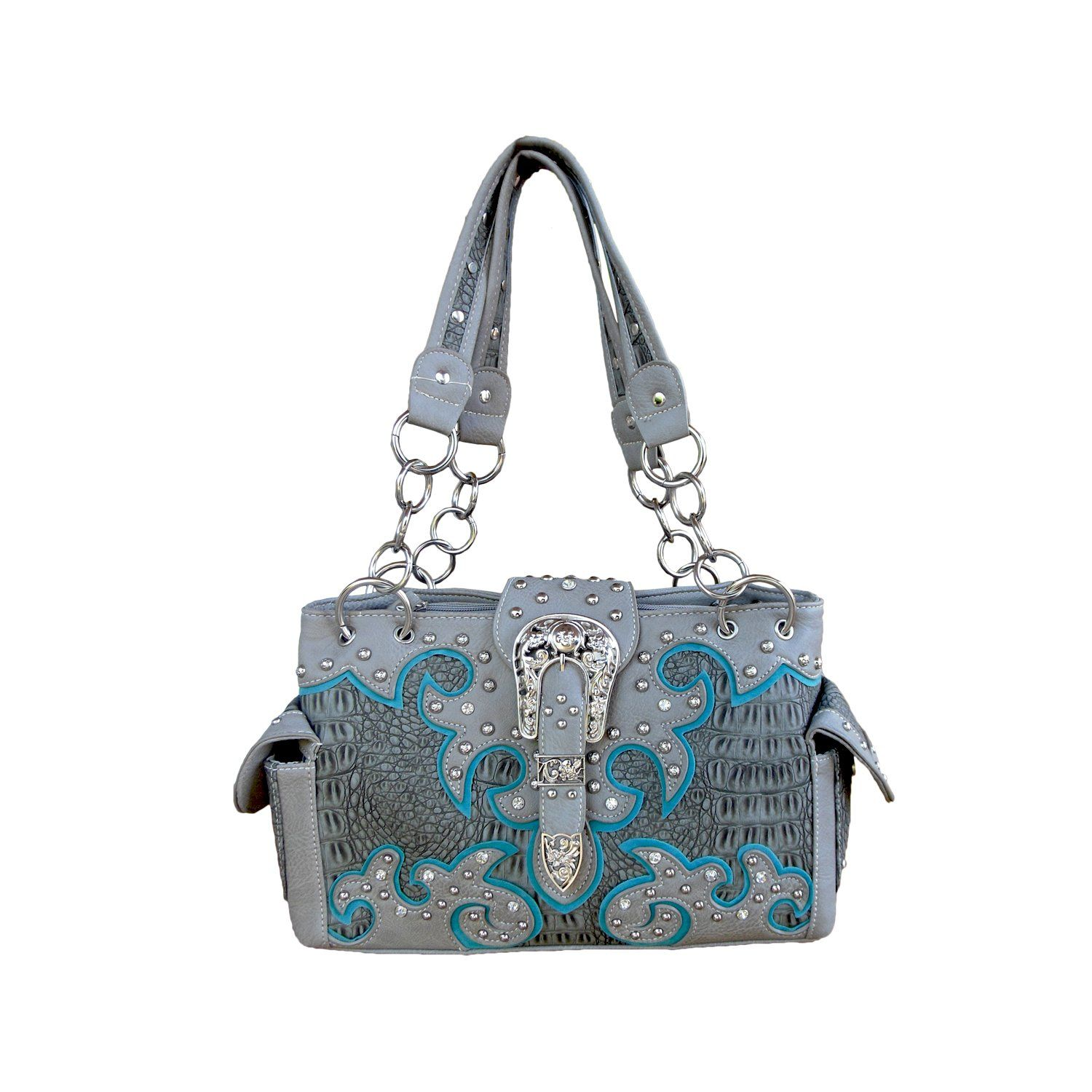 239ca342c04a Women s Gray Western Gun Concealment Carry Purse with Rhinestone Buckle