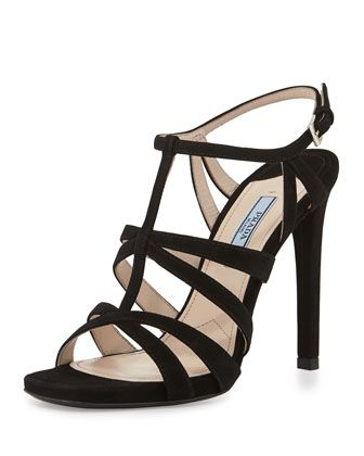 Prada Suede Cage Front Sandal, Black
