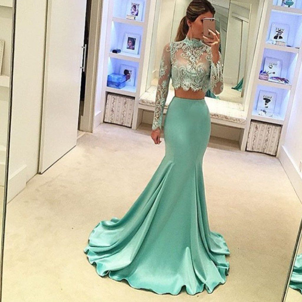 Pretty two pieces high neck long sleeve lace prom dress sexy