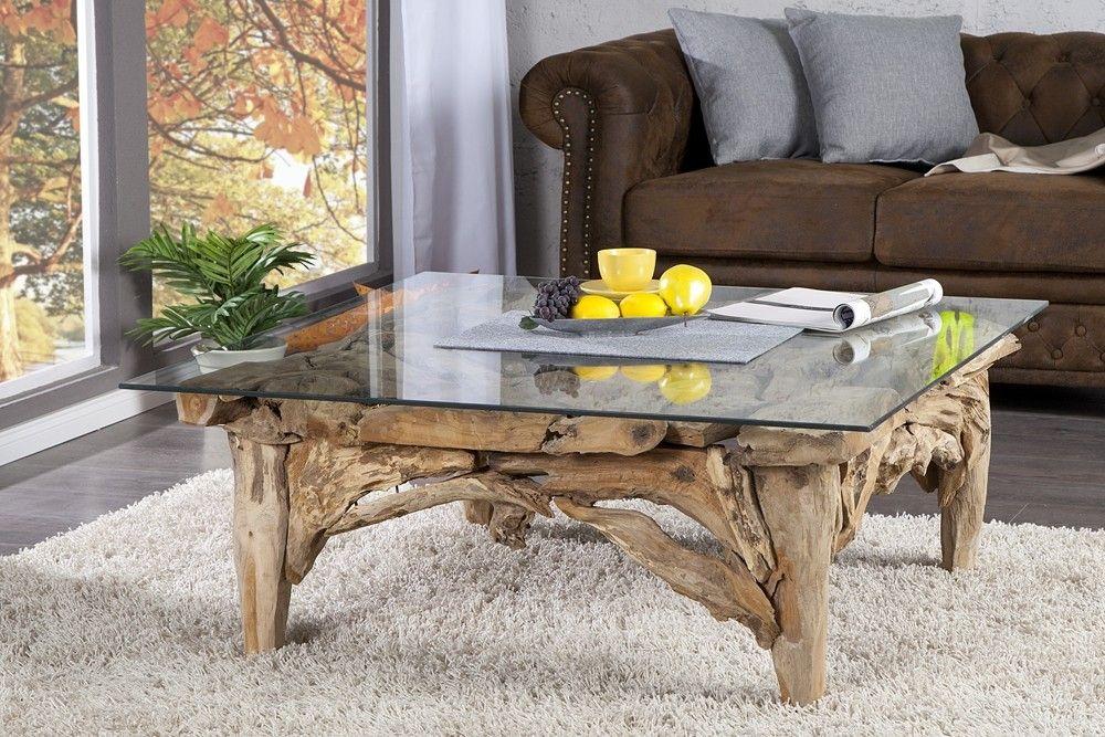 table basse design en bois flott avec plateau en verre - Table Basse Bois Flotte