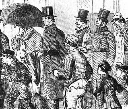 """These first police officers caused quite a stir with the public when they initially appeared because nothing like them had been seen patrolling the streets of London before. The first uniform of the Metropolitan police was an eight button swallow tail coat. A 4"""" leather stock was worn inside the high collar to guard the officer against strangulation. The stock was eventually reduced to 2"""" in 1859. White trousers were worn in the summer until 1861."""