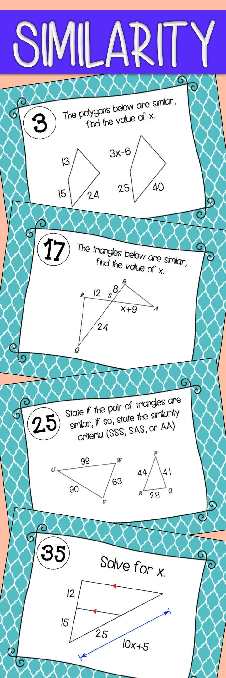 Similarity Task Cards | Triangle angles, Activities and Maths