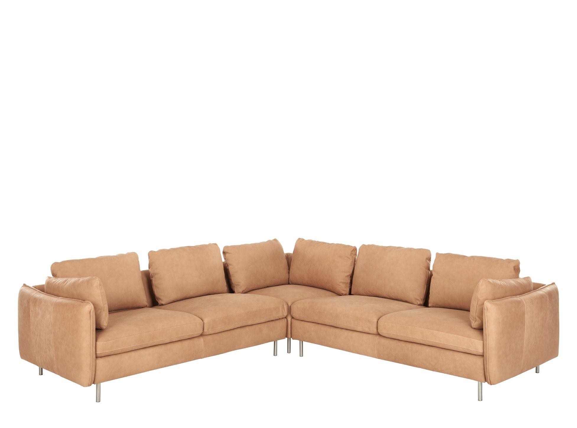 Vento Canape D Angle 5 Places Cuir Brun 5 Seater Corner Sofa Corner Sofa Sofa
