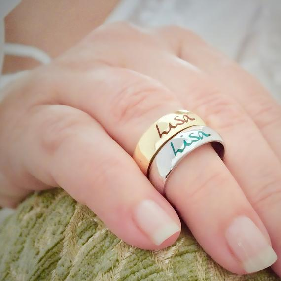 14K Solid Yellow Gold Ring, Yellow Gold Band, Yellow Gold Ring Set, Couple Rings, Personalized Ring, Women Signet Ring, Solid Gold Name Ring